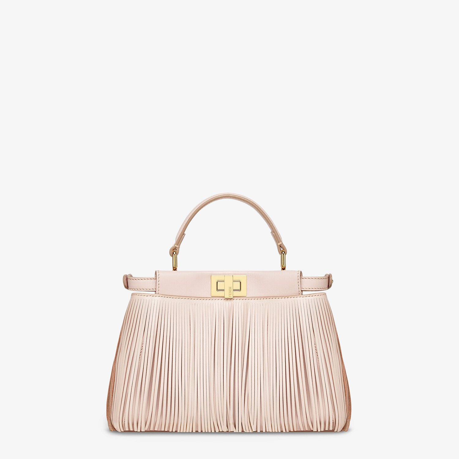 FENDI PEEKABOO ICONIC MINI - Pink leather bag with fringes - view 3 detail