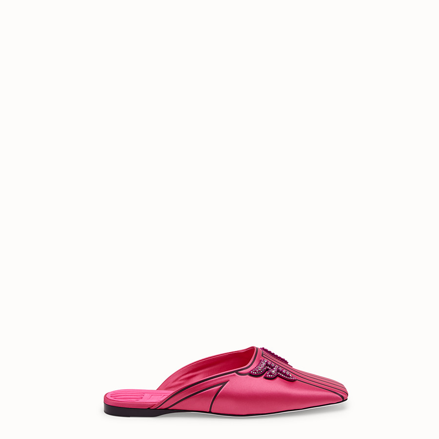 FENDI SABOTS - Satin flats in fuchsia - view 1 detail