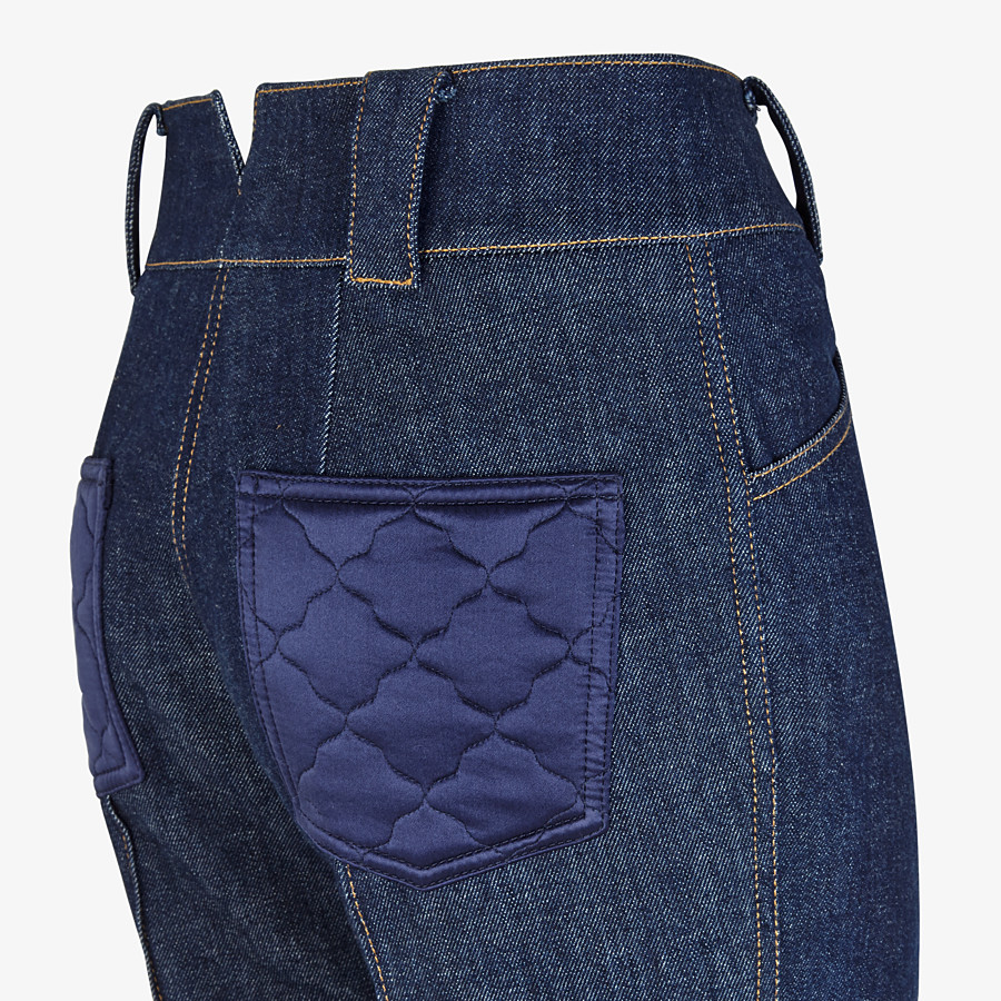 FENDI TROUSERS - Blue denim trousers - view 3 detail
