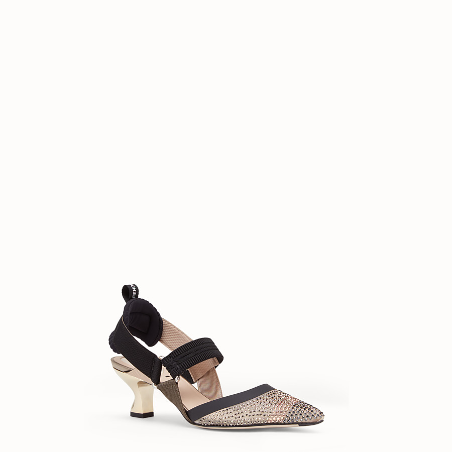 FENDI COURT SHOES - Beige mesh slingbacks - view 2 detail