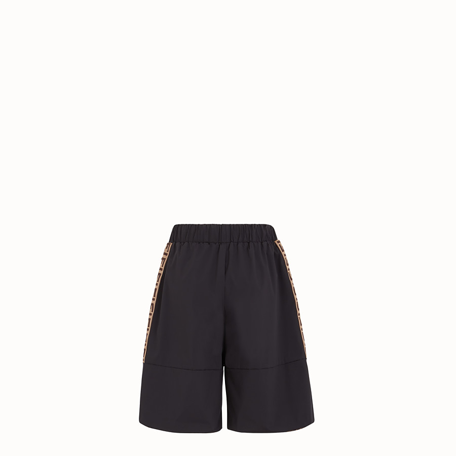 FENDI TROUSERS - Black tech fabric bermudas - view 2 detail
