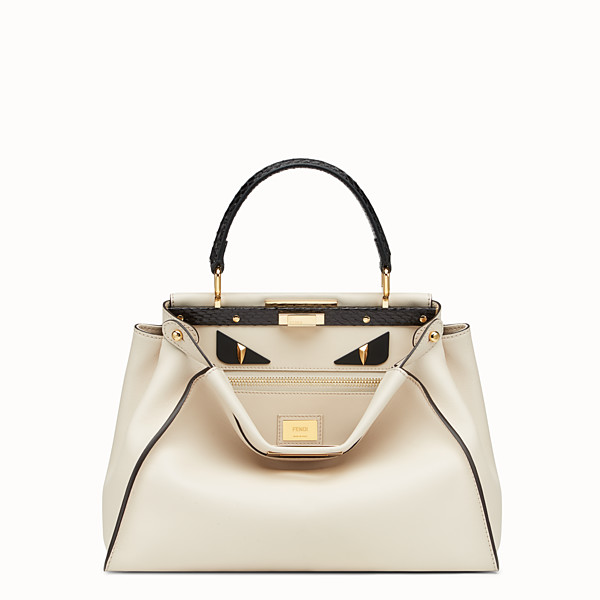 FENDI PEEKABOO REGULAR - White leather bag with exotic details - view 1 small thumbnail