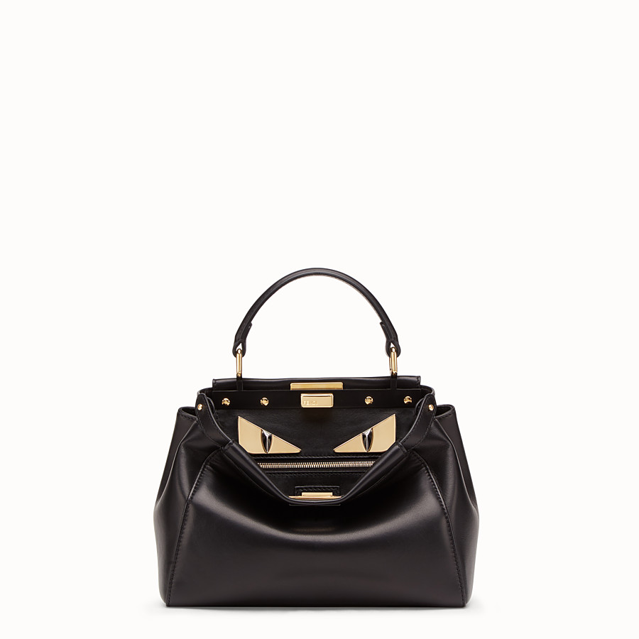 FENDI PEEKABOO ICONIC MINI - Black leather bag - view 1 detail