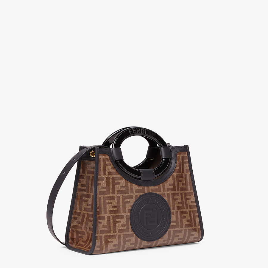 FENDI RUNAWAY SHOPPER - Shopper in brown fabric - view 3 detail