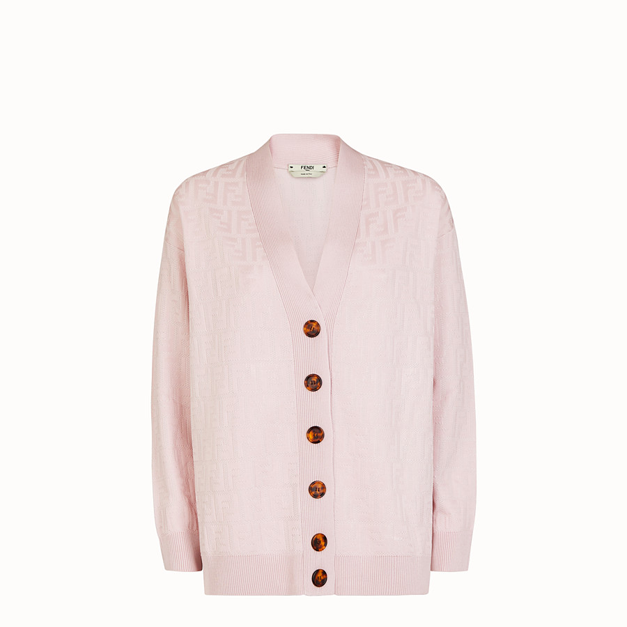 FENDI CARDIGAN - Pink viscose and cotton cardigan - view 1 detail