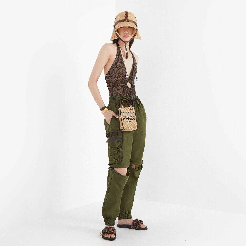 FENDI PANTS - Green nylon pants - view 5 detail