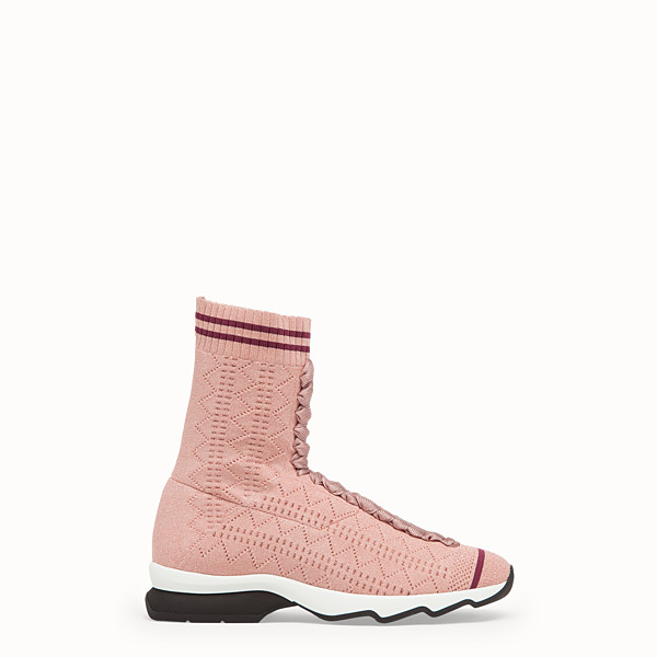 FENDI SNEAKERS - Pink stretch fabric sneaker boots - view 1 small thumbnail