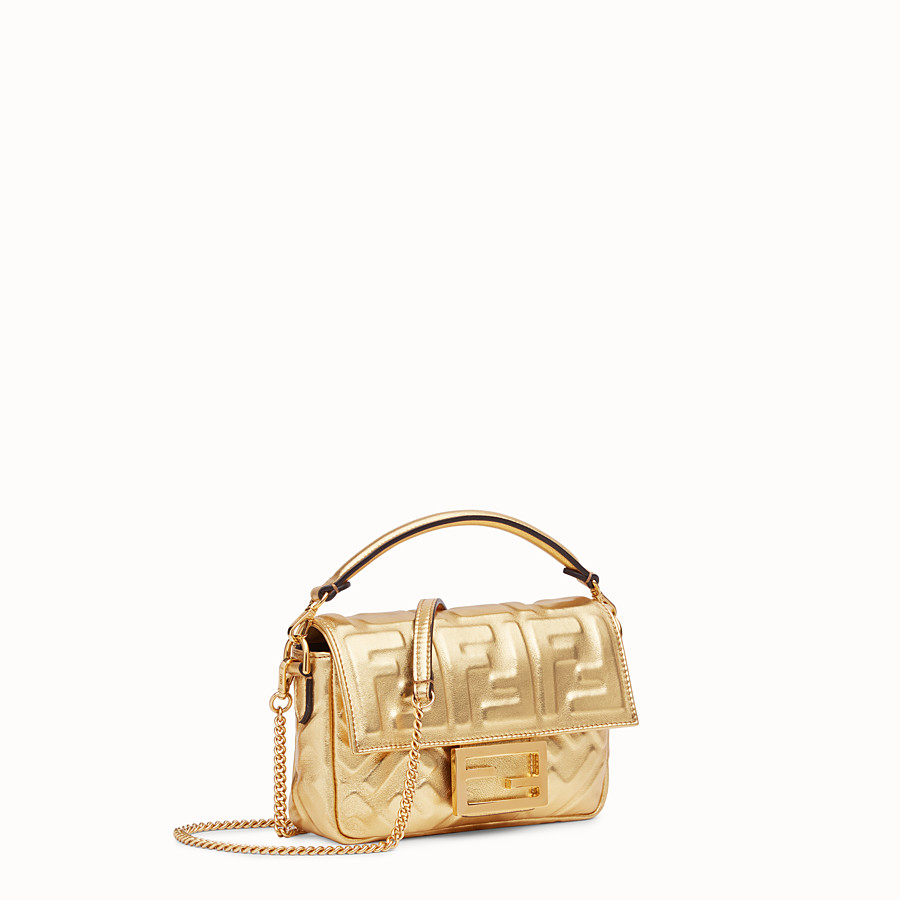 FENDI BAGUETTE MINI - Golden leather bag - view 3 detail