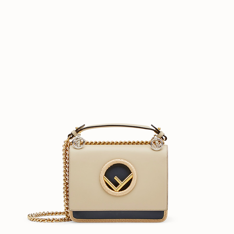 FENDI KAN I F SMALL - Beige leather mini-bag with exotic details - view 1 detail