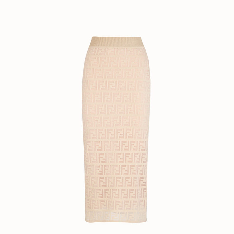 FENDI SKIRT - Beige cotton skirt - view 1 detail