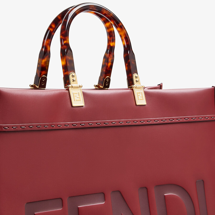 FENDI SUNSHINE SHOPPER - Burgundy leather shopper - view 5 detail