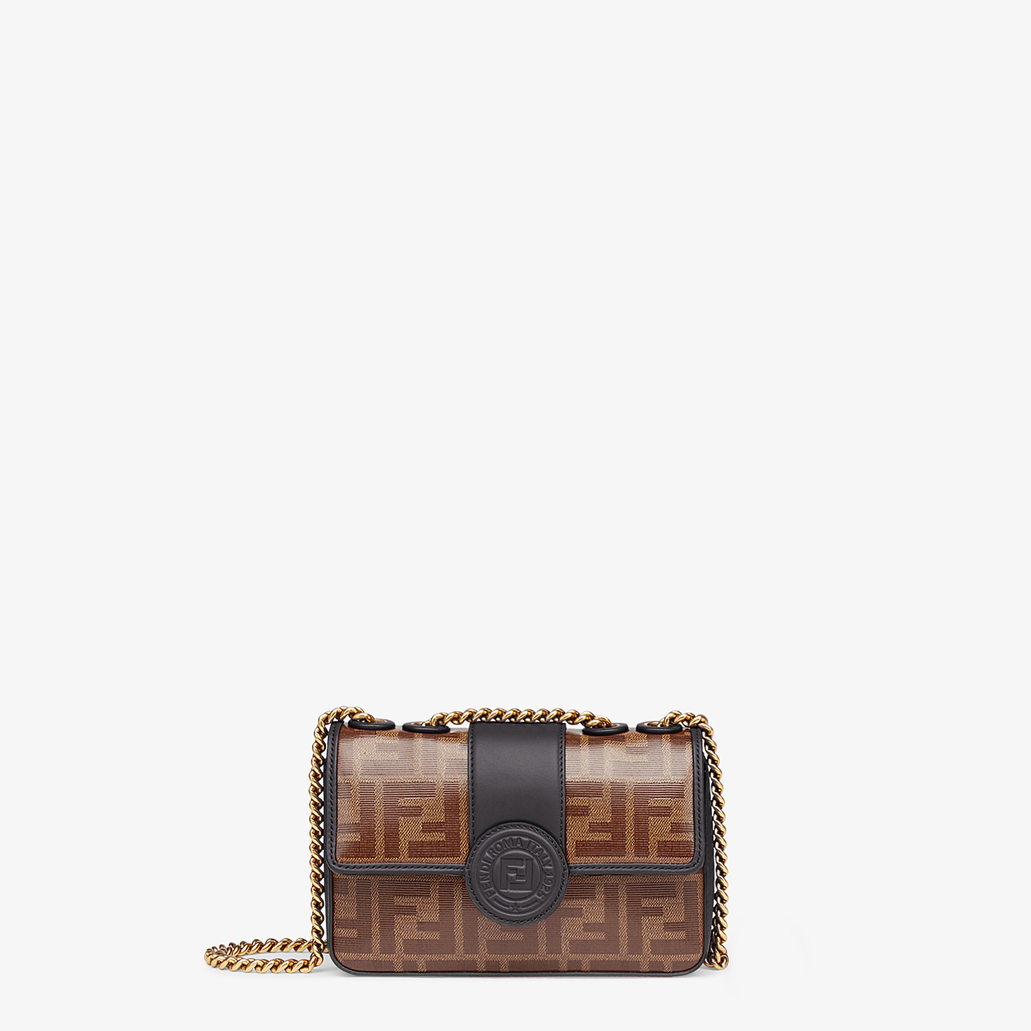 FENDI MINI DOUBLE F - Brown canvas bag - view 1 detail