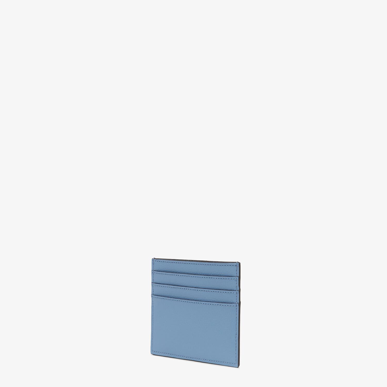 FENDI CARD CASE - Light blue leather flat card holder - view 2 detail