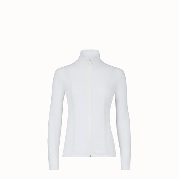 FENDI TECH FABRIC JUMPER - White tech fabric jumper - view 1 small thumbnail