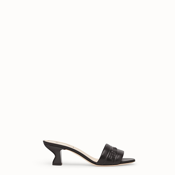 FENDI SANDALS - Black leather slides - view 1 small thumbnail