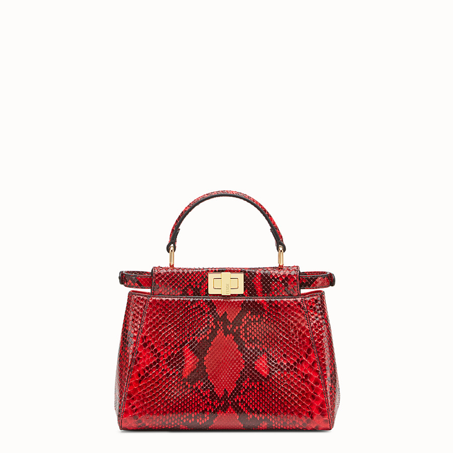 FENDI PEEKABOO MINI - Red python handbag. - view 3 detail