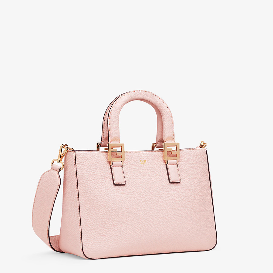 FENDI SMALL FF TOTE - Pink leather bag - view 3 detail