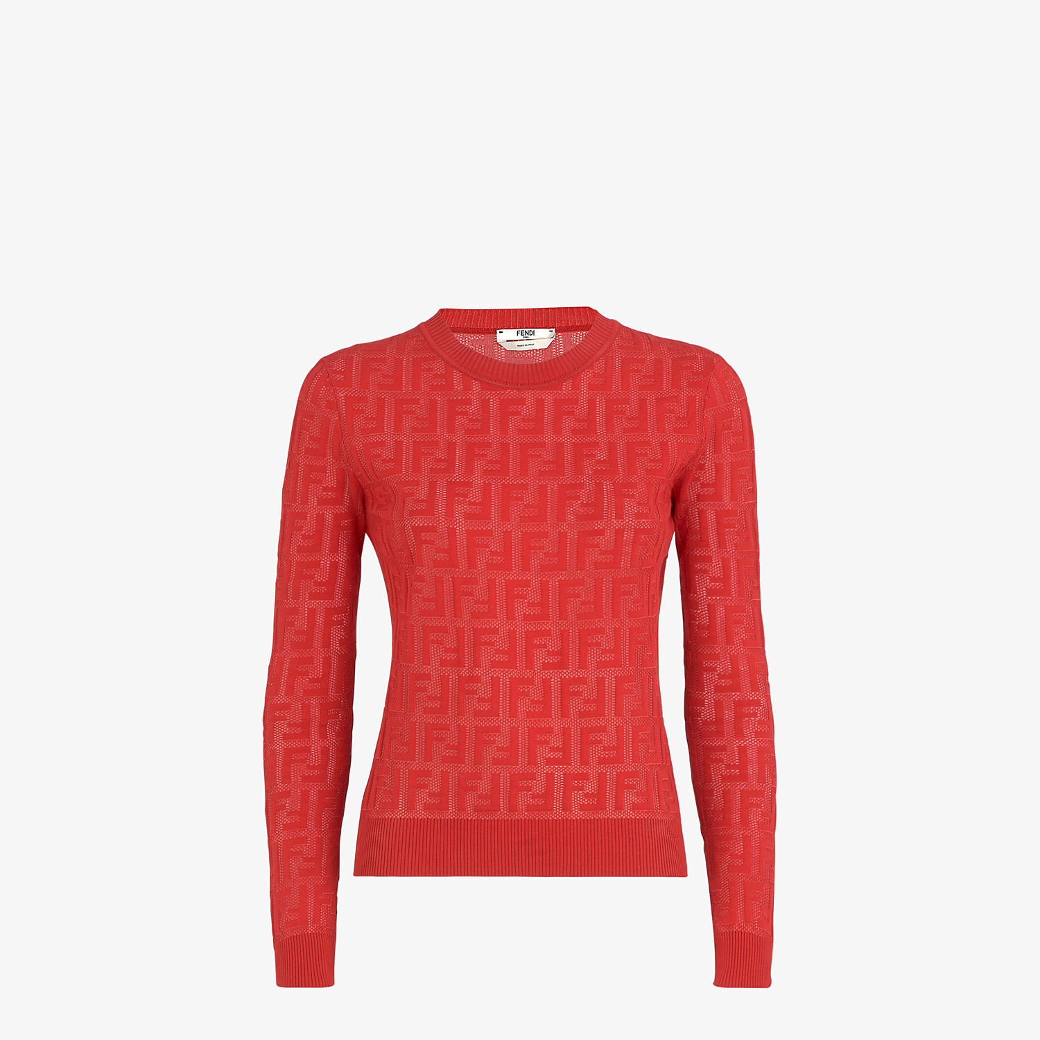 FENDI JUMPER - Red cotton jumper - view 1 detail