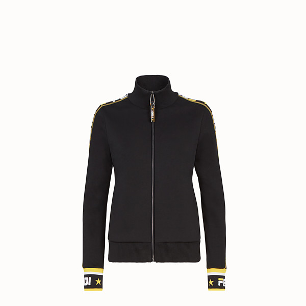 FENDI SWEATSHIRT - Black cotton jersey sweatshirt - view 1 small thumbnail