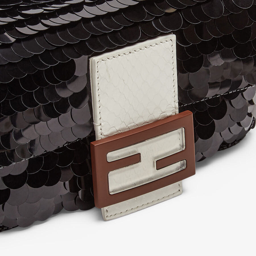 FENDI MINI BAGUETTE 1997 - Black satin bag with sequins - view 5 detail