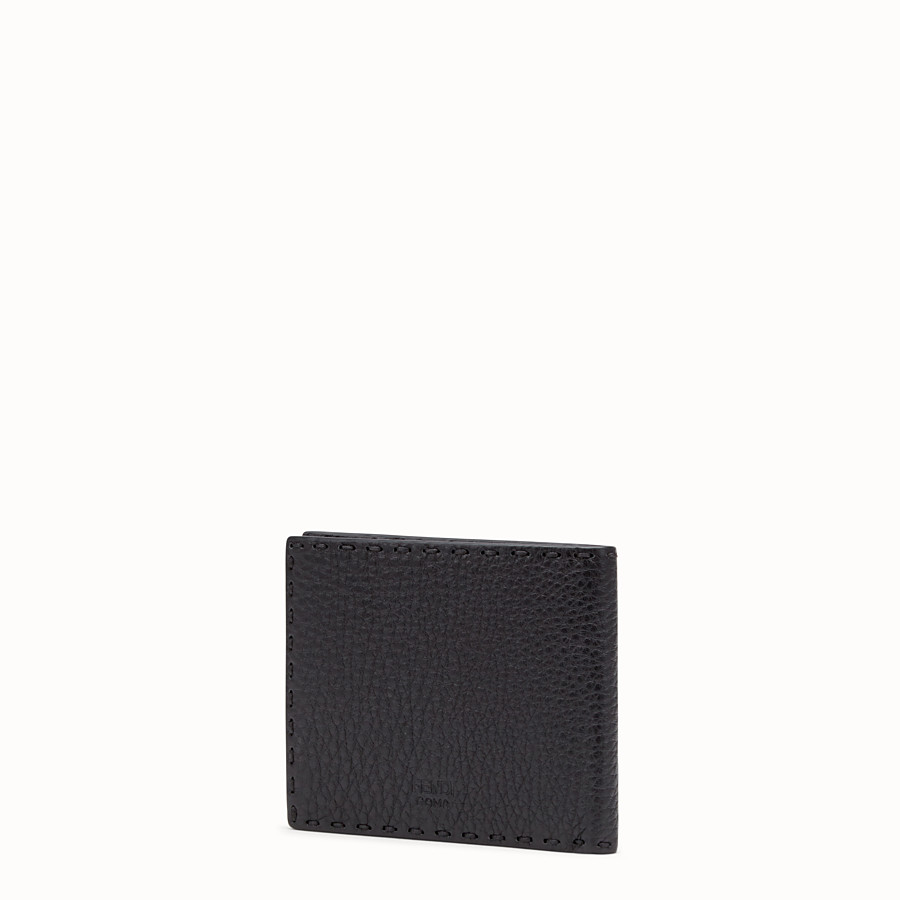 FENDI BI-FOLD WALLET - Black Roman leather bi-fold wallet with exotic leather details - view 2 detail