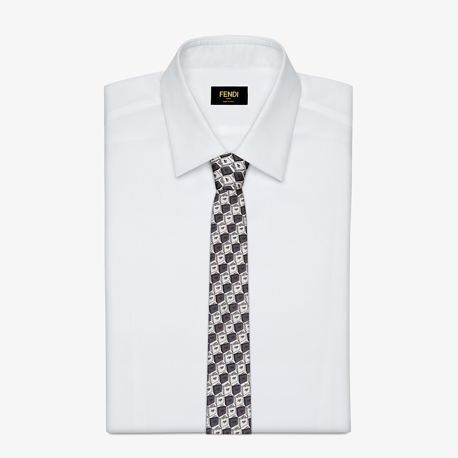 FENDI TIE - White silk tie - view 2 detail