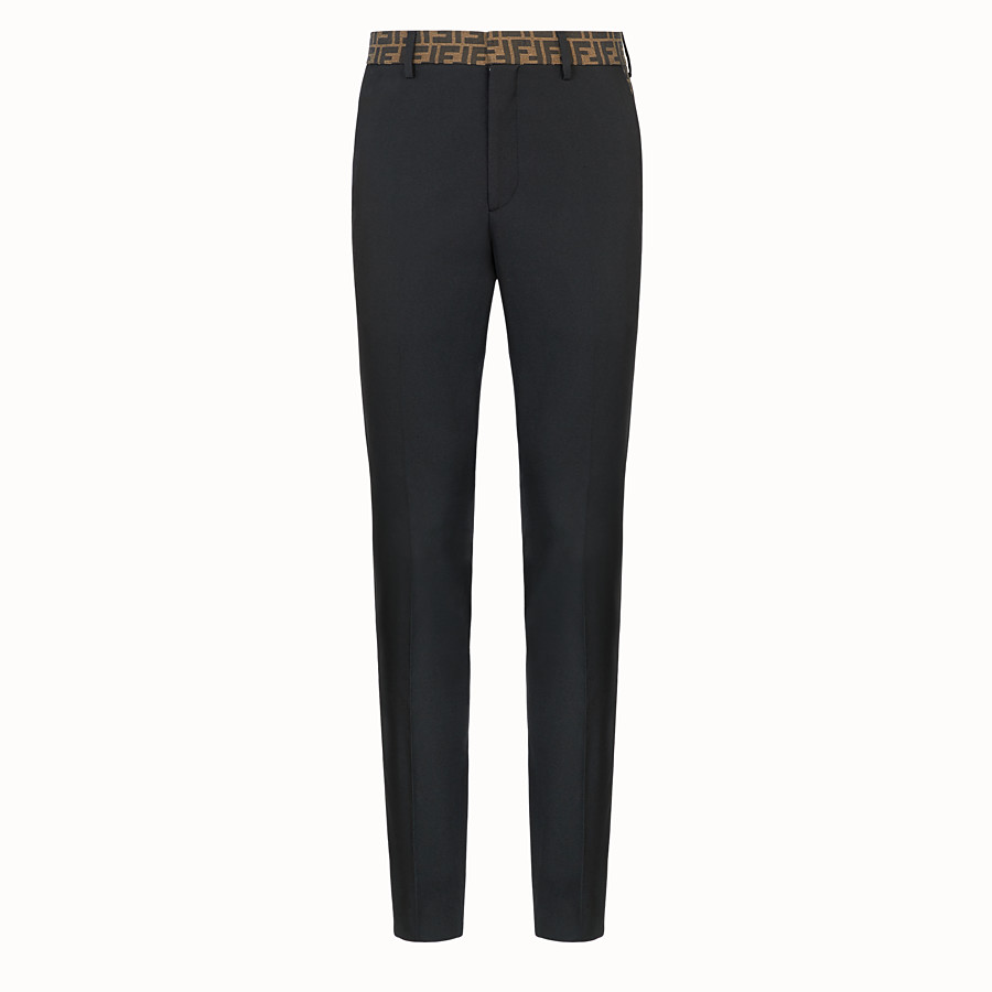 FENDI TROUSERS - Black trousers in tech gabardine - view 1 detail