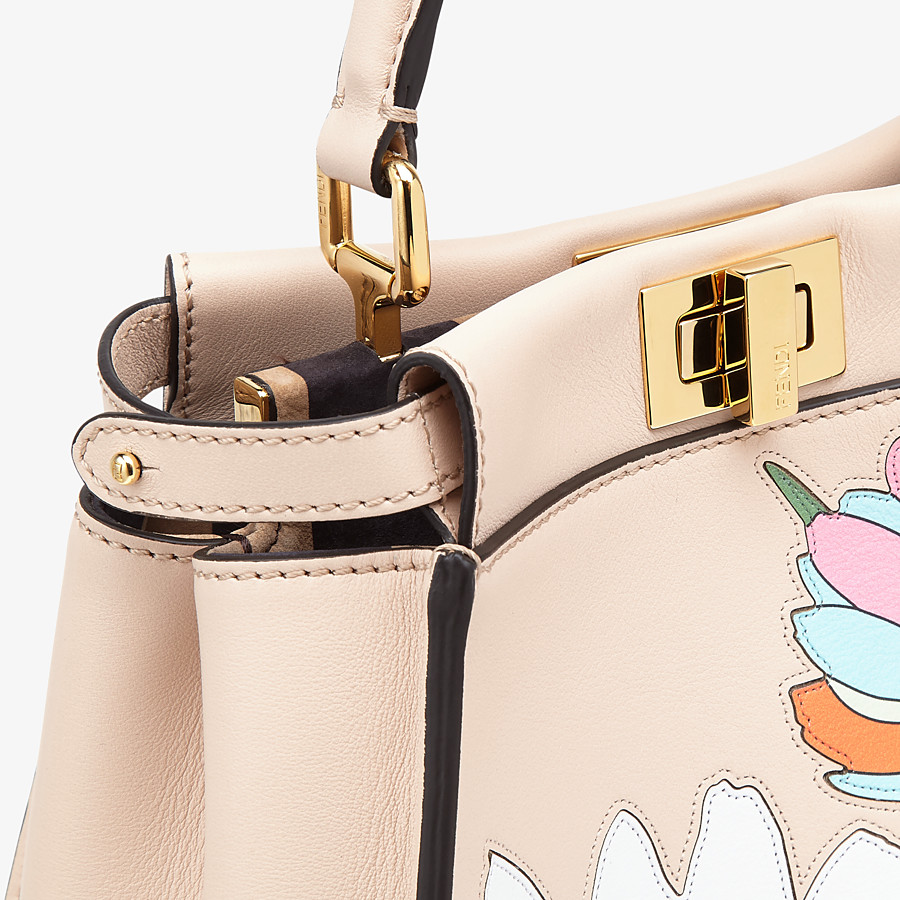 FENDI PEEKABOO ICONIC MINI - Pink leather bag - view 6 detail
