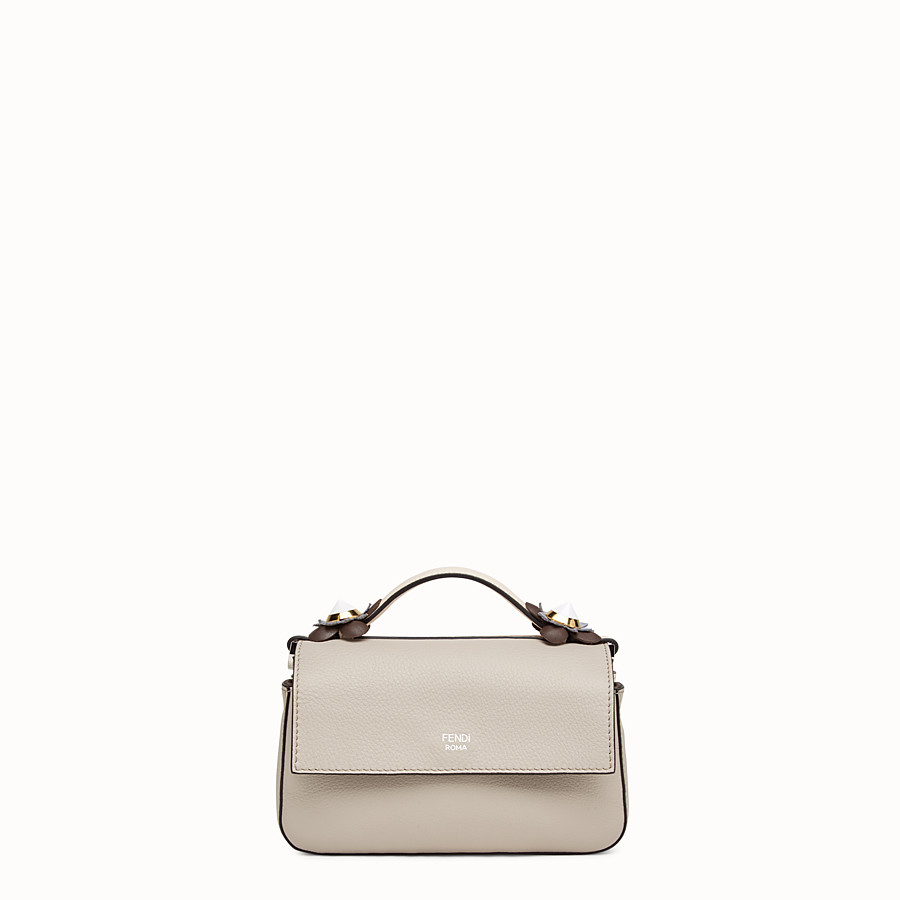 FENDI DOUBLE MICRO BAGUETTE - Micro bag in white leather with flowers - view 3 detail