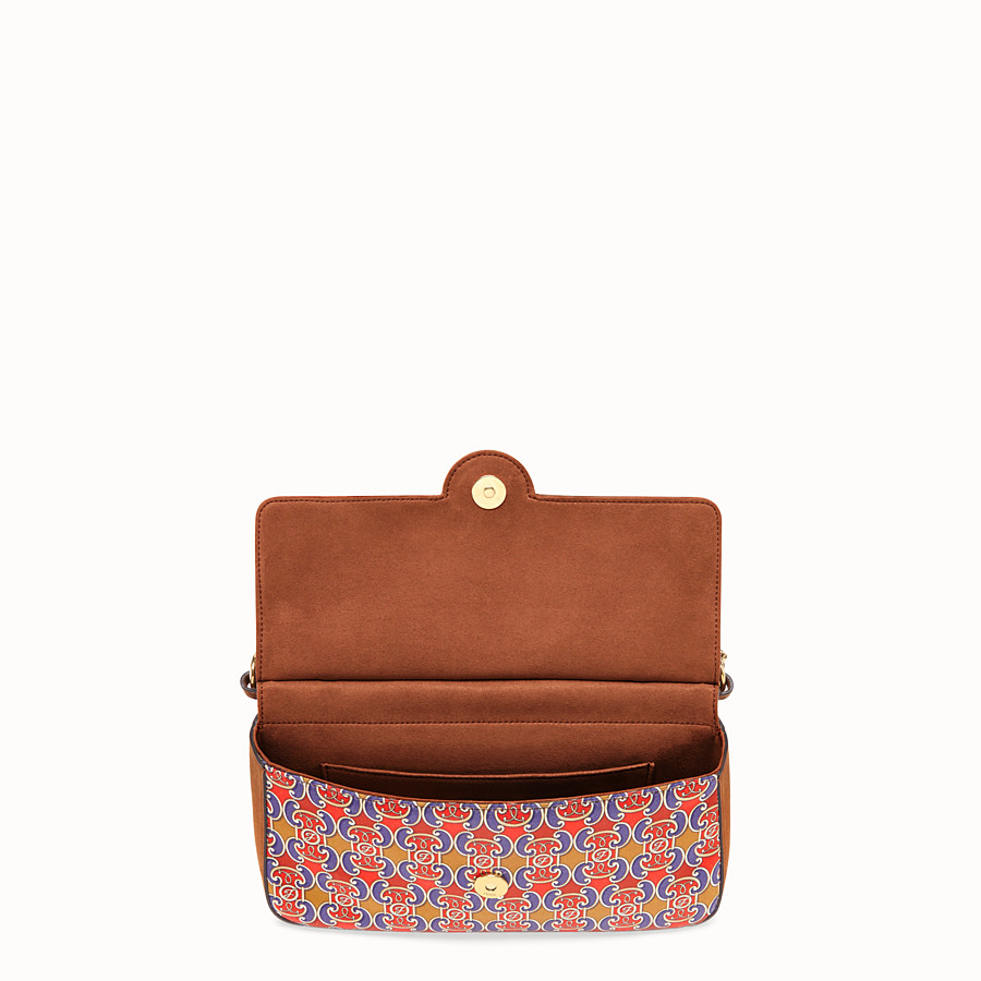 FENDI DOUBLE F - Multicolour suede and satin bag - view 4 detail