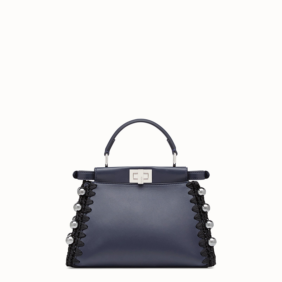 FENDI PEEKABOO MINI - Blue nappa bag - view 3 detail