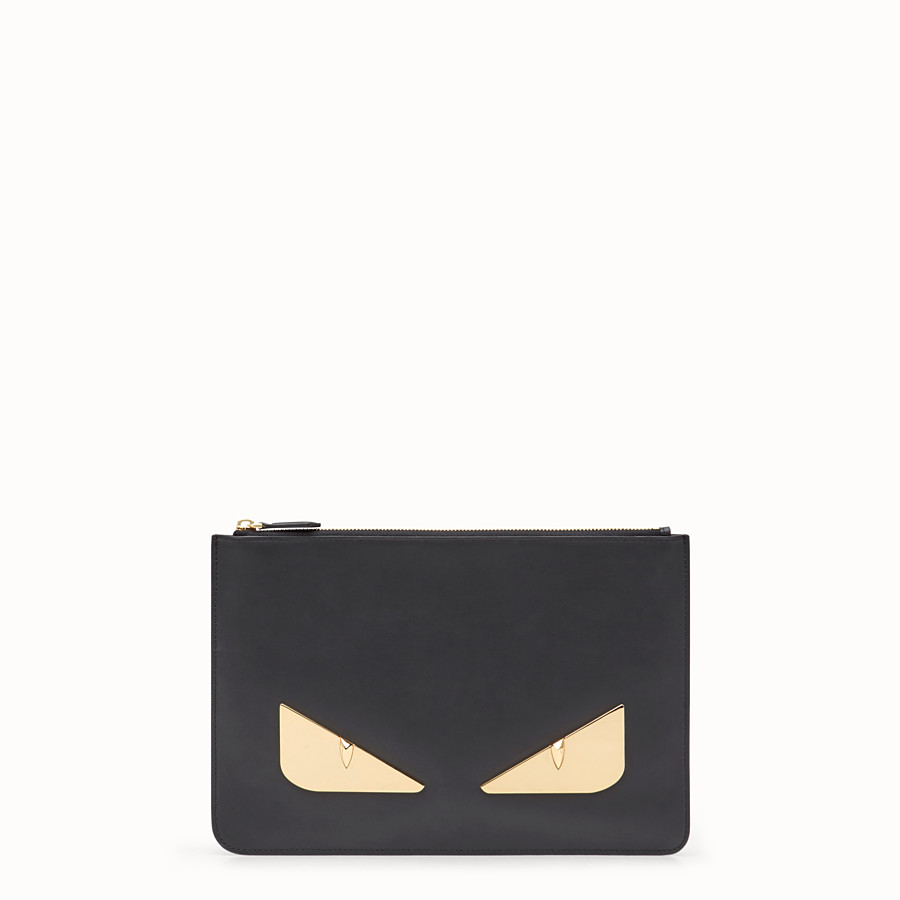 FENDI POUCH - Black leather slim pouch - view 1 detail