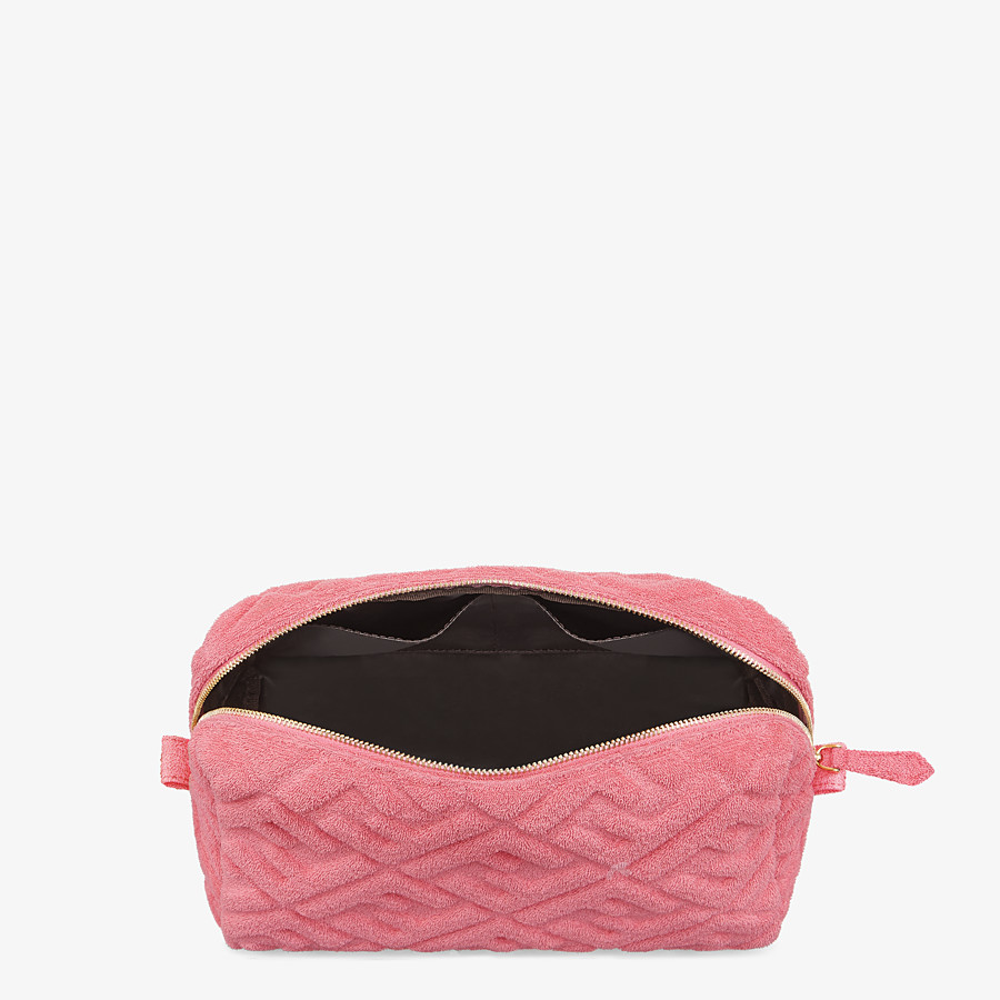 FENDI MEDIUM BEAUTY POUCH - Pink terrycloth toiletry case - view 3 detail
