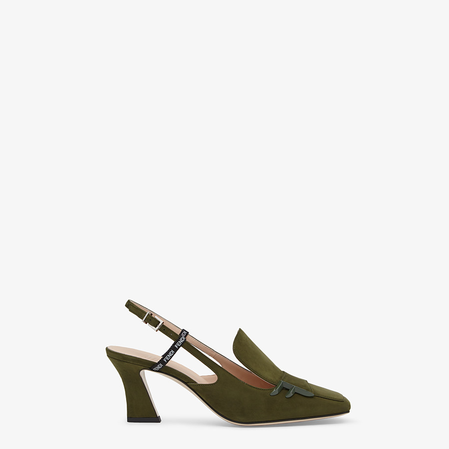 FENDI SLINGBACKS - Green nubuck slingbacks - view 1 detail