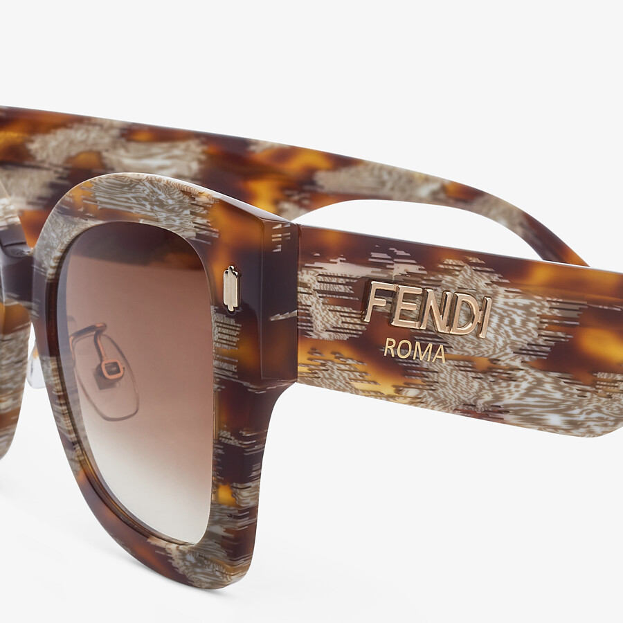 FENDI FENDI ROMA - Sunglasses in Havana-color animalier acetate - view 3 detail
