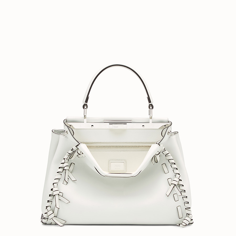 FENDI PEEKABOO REGULAR - White leather bag - view 1 detail
