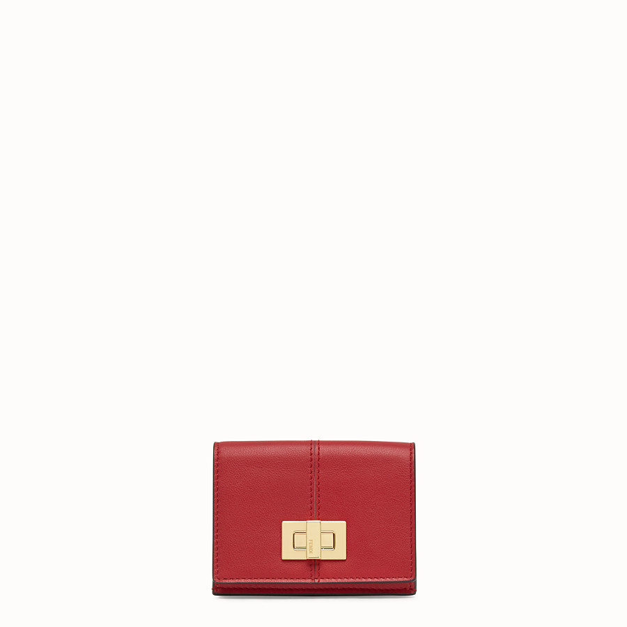 FENDI MICRO TRIFOLD - Portafoglio in pelle rossa - vista 1 dettaglio