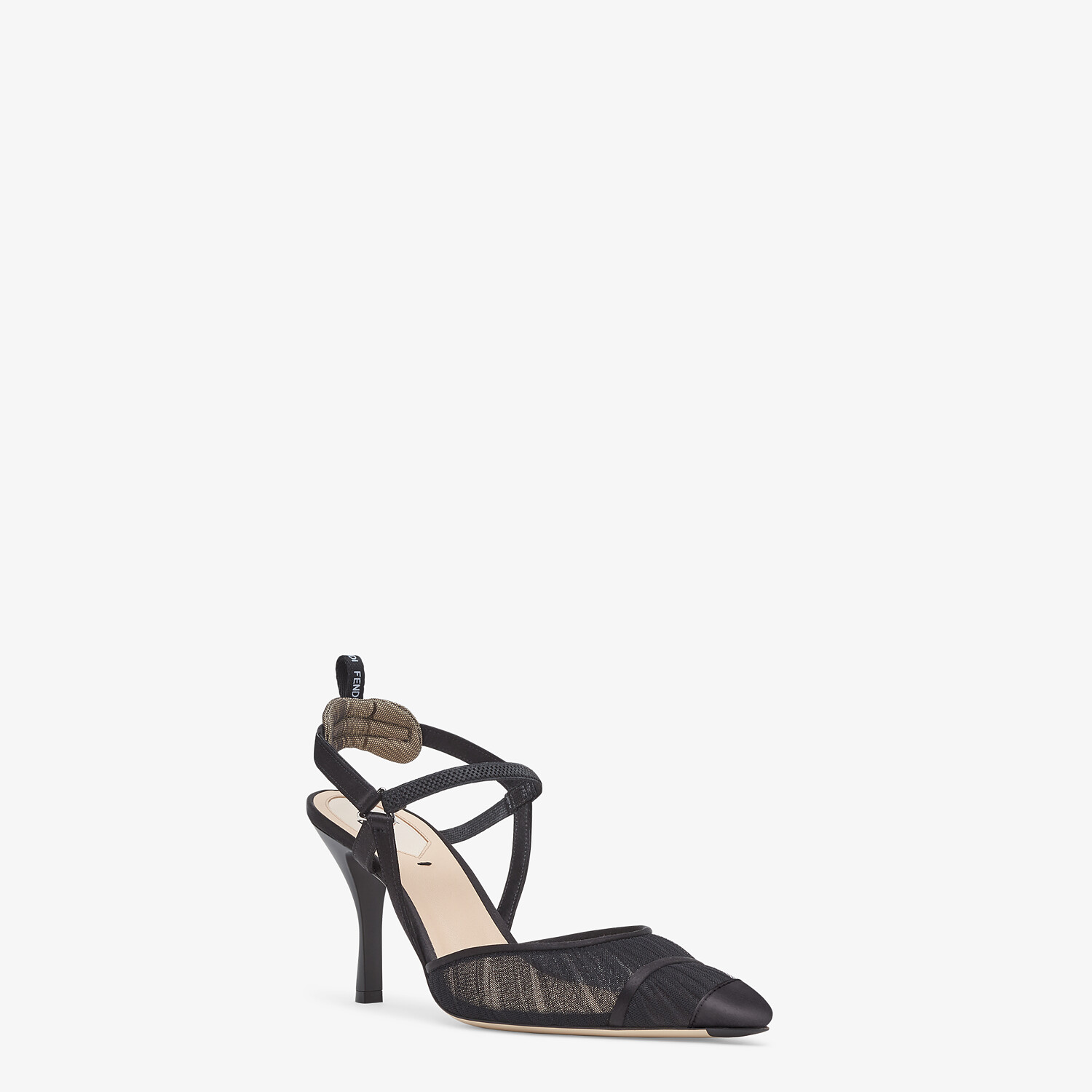 FENDI SLINGBACK - Black tulle and satin Colibrì - view 2 detail