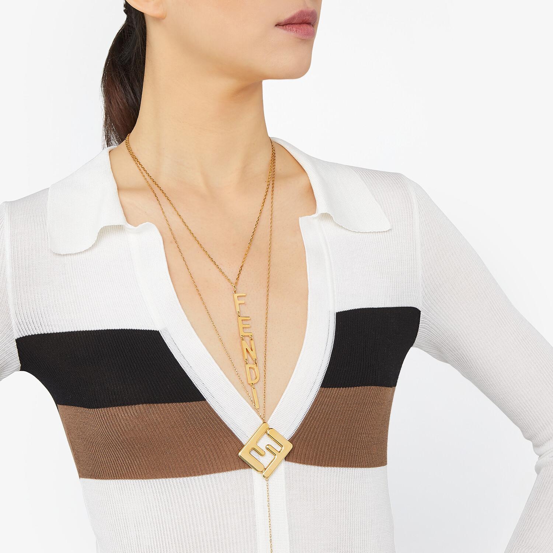 FENDI MAXI LOGO NECKLACE - Gold-color necklace - view 2 detail