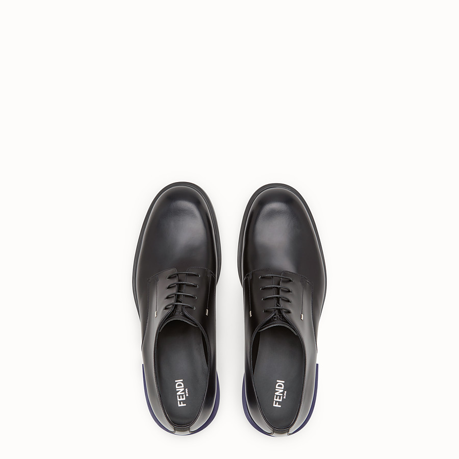 FENDI LACE-UP - Black leather lace-ups - view 4 detail