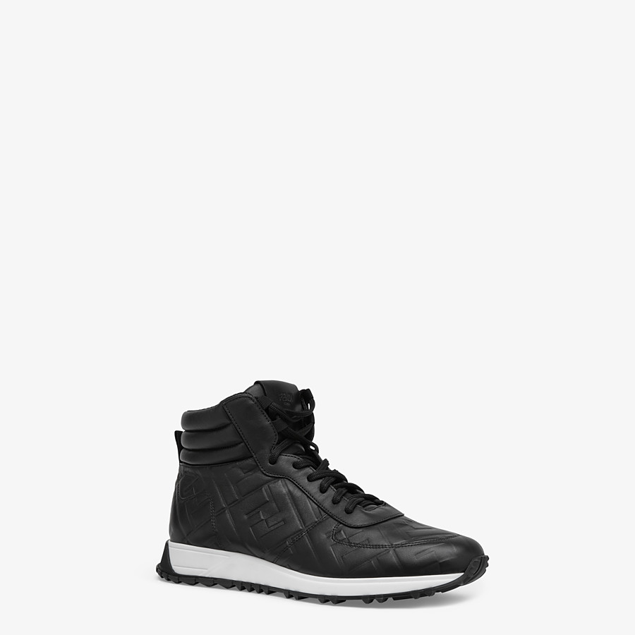 FENDI SNEAKERS - Black leather high-tops - view 2 detail