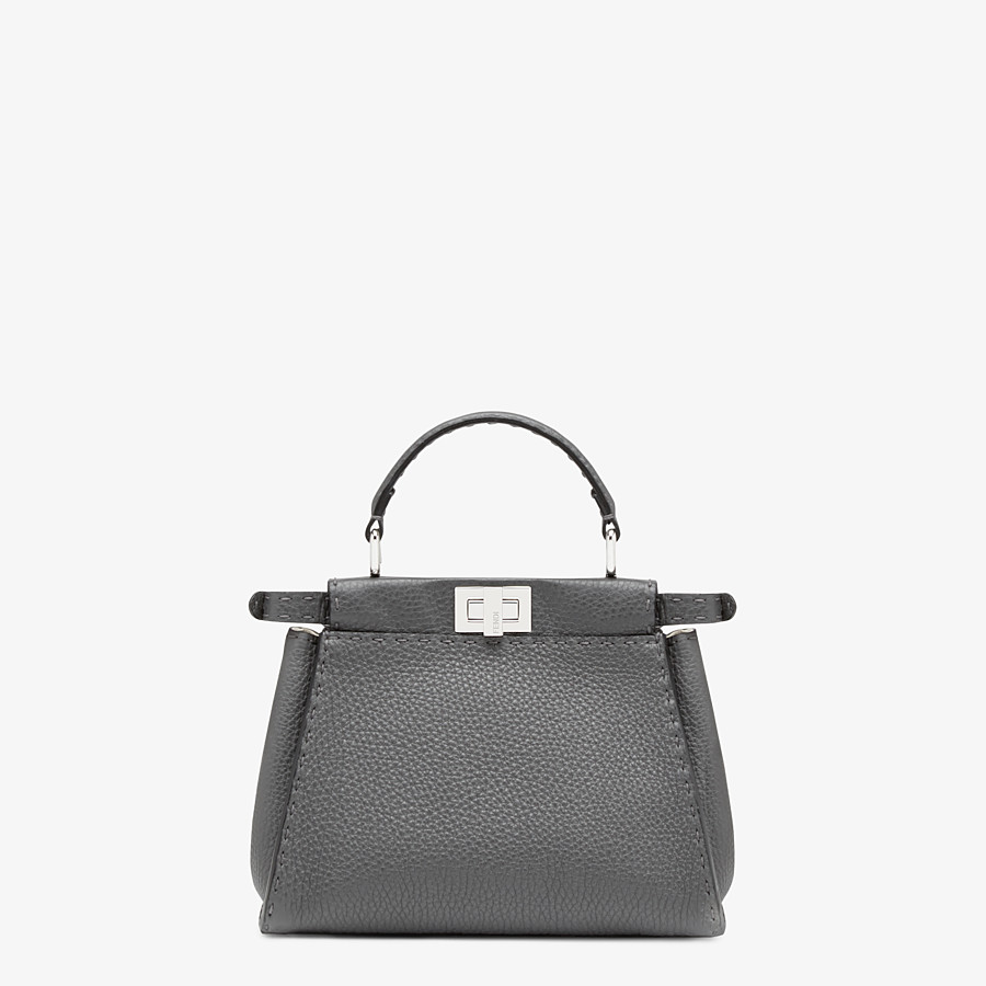 FENDI PEEKABOO ICONIC MINI - Asphalt gray Selleria bag - view 3 detail