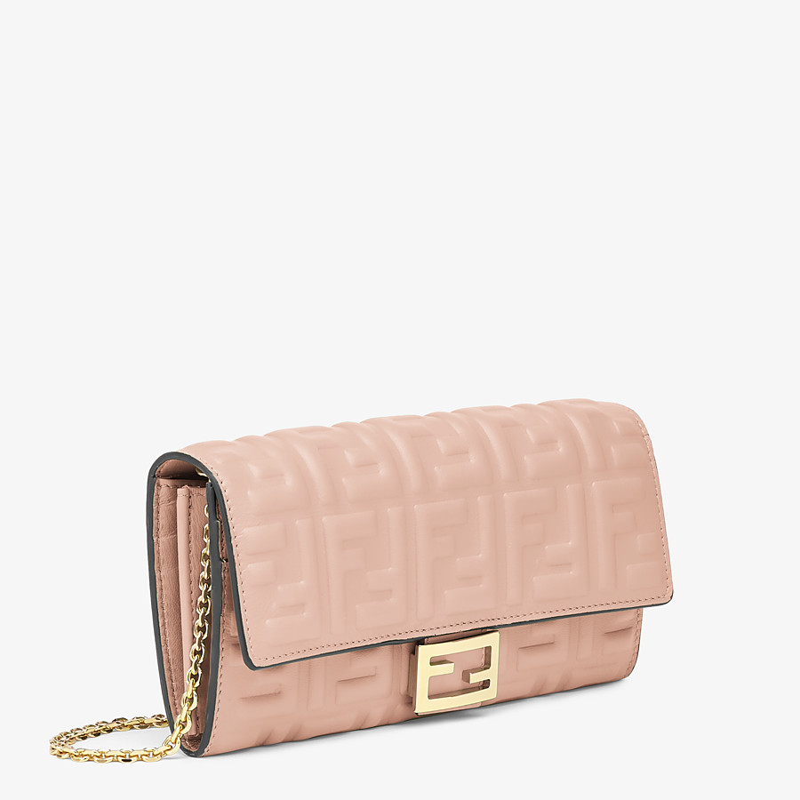 FENDI CONTINENTAL WITH CHAIN - Pink nappa leather wallet - view 2 detail