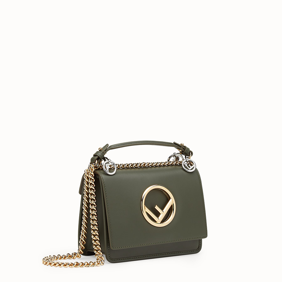FENDI KAN I F SMALL - Green leather mini-bag with exotic details - view 2 detail
