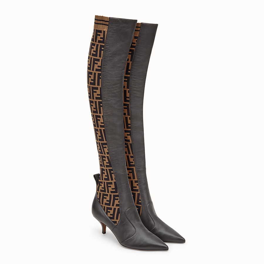 FENDI BOOTS - Brown leather thigh-high boots - view 4 detail