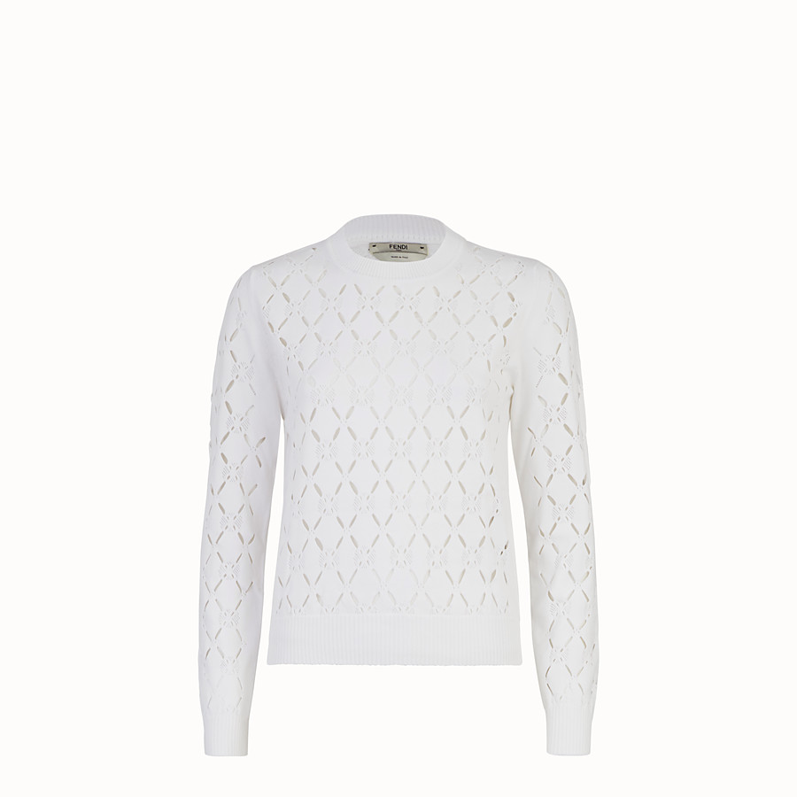 FENDI PULLOVER - White fabric sweater - view 1 detail