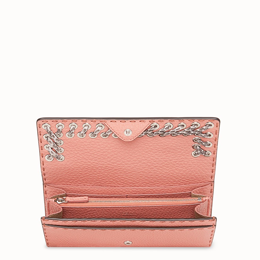 FENDI CONTINENTAL - Pink leather wallet with exotic details - view 4 detail