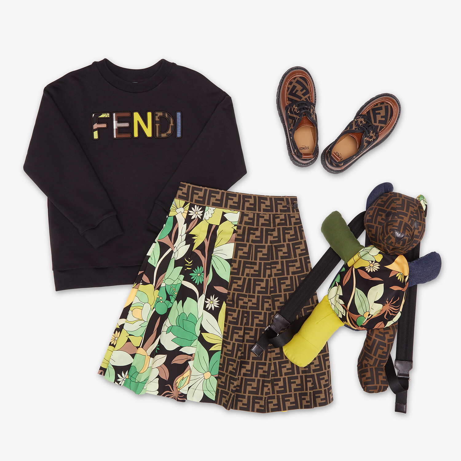 FENDI TEDDY BEAR BACKPACK - Teddy bear backpack in multicolor patchwork fabric with FF logo - view 4 detail