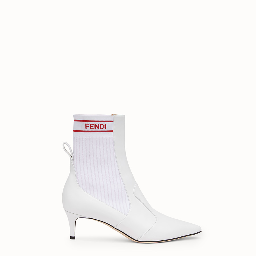 FENDI ANKLE BOOTS - White leather booties - view 1 detail