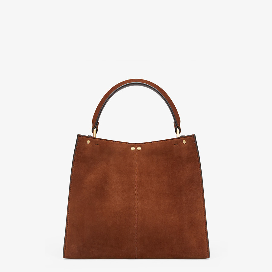 FENDI PEEKABOO X-LITE MEDIUM - Borsa in suede marrone - vista 5 dettaglio
